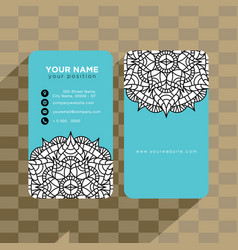 mandala pattern name card template vector image
