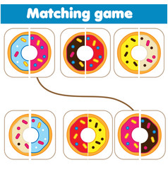 Matching children educational game match parts of vector