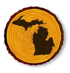 michigan map on timber vector image