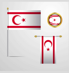 Northern cyprus waving flag design with badge vector