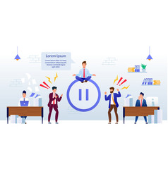 Office relax and meditation pause in work banner vector