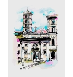Original digital watercolor drawing of rome street vector