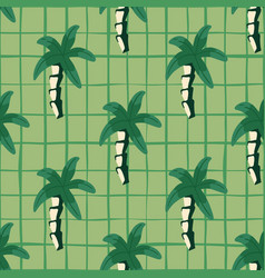 Palm tree seamless pattern on lines background vector