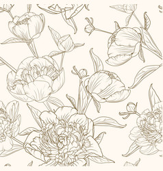 peony flowers seamless pattern brown beige sepia vector image