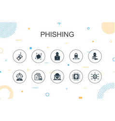 Phishing trendy infographic template thin line vector
