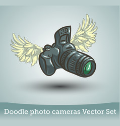 photo camera with wings isolated on white vector image