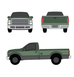 Pick-up truck green three sides view vector