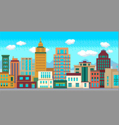 Pixel art modern city with buildings panorama vector