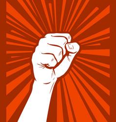 Raised fist in protest strike revolution symbol vector