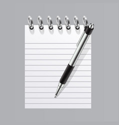 Realistic blank spiral notepad and pen symbol vector
