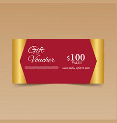 red gift voucher design template vector image
