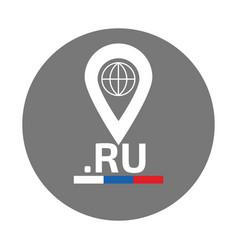 ru domain zone flat logo vector image