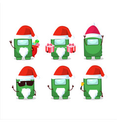 Santa claus emoticons with among us green cartoon vector