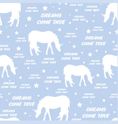 seamless pattern with white unicorns vector image