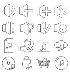 set of icons in line style sound and music vector image
