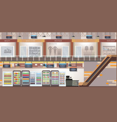 Shopping mall with modern retail store and vector