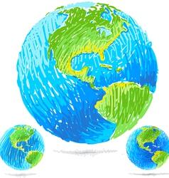 Sketchy blue earth vector
