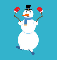 snowman yoga relaxation and meditation new year vector image
