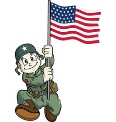 soldier holding usa flag vector image