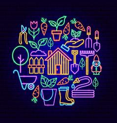 spring garden neon concept vector image
