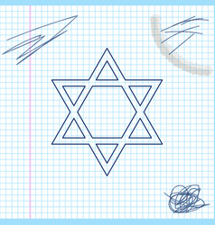 Star david line sketch icon isolated on white vector