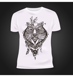 T-shirt print design with hand-drawn mehendi bear vector image