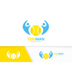 Tennis and people logo combination game vector