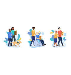 three designs depicting old age care for retirees vector image