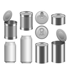 Tin can food package mockup set realistic style vector