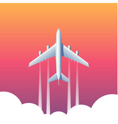 Top view plane above clouds vector