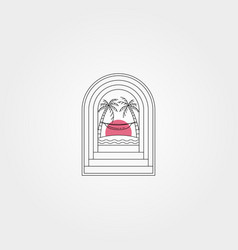 Tropical door creative logo symbol design hammock vector