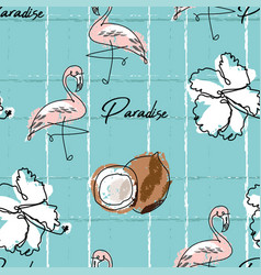 tropical seamless pattern with cute hand drawn vector image