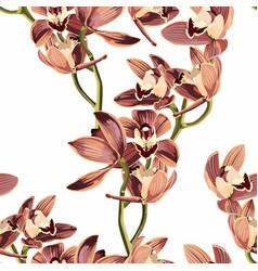 tropical vintage beige orchid flower pattrn vector image