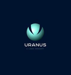 uranus planet emblem u monogram vector image