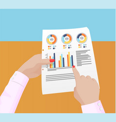 various statistics data in female hands poster vector image