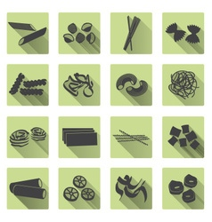 various types of pasta food color flat icons set vector image