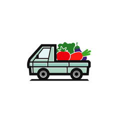 vegetable truck logo vector image