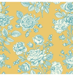 Vintage seamless pattern with blue roses vector