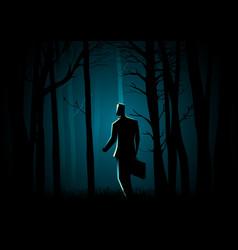 Walking in dark forest vector