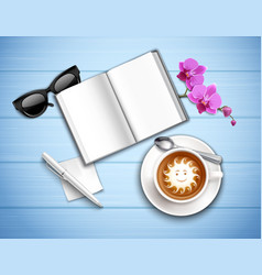 Work place cappuccino and orchid vector