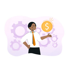 young smiling businessman is holding gold coin vector image