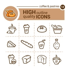 coffee and pastries icons vector image vector image
