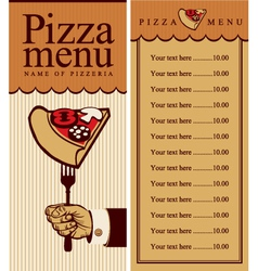 pizza menu vector image vector image