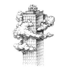 skyscraper in the clouds sketch vector image vector image