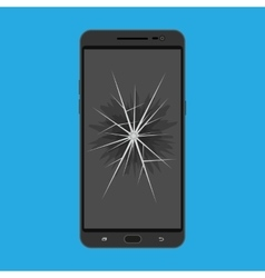 touchscreen smartphone with broken screen vector image vector image