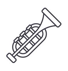 trumpethorn line icon sign vector image vector image