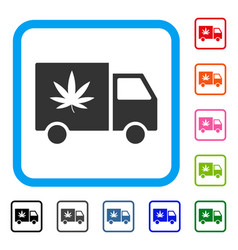 cannabis delivery van framed icon vector image