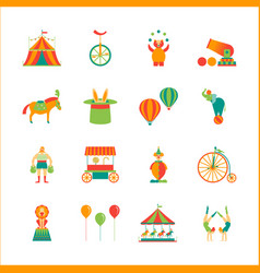 cartoon circus color icons set vector image