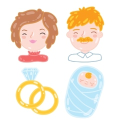 Cartoon young family Mother father baby vector image