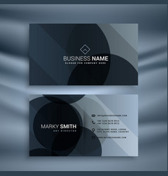 Dark black business card design template vector